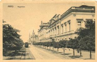 Arad, Megyeháza, lóvasút / county hall, omnibus (EM)