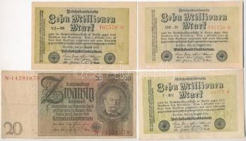 Németország / Weimar köztársaság 1923. 10.000.000M (3x) kétféle csillagos és színárnyalatú, hat, illetve hétjegyű sorszámokkal + 1923. 100.000.000M (3x) barna és vörös színű, hat és nyolcjegyű sorszámmal + 1929. 20M T:II,III Germany / Weimar Republic 1923. 10.000.000 Mark (3x) two types of stars and color, six and eight digit serials + 1923. 100.000.000M (3x) six and eight digit serials in brown and red color + 1929. 20 Mark C:XF,F