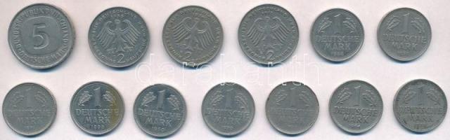 NSZK 1950-1990. 1M (9xklf) + 2M (3xklf) + 5M T:2,2- FRG 1950-1990. 1 Mark (9xdiff) + 2 Mark (3xdiff) + 5 Mark C:XF,VF