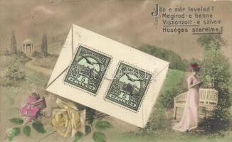 Romantic postcard with Hungarian stamp (fa)