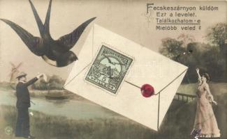 Romantic postcard with Hungarian stamp