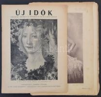 1929-1946 Uj Idők folyóirat, 2 szám, XXXV. évf., 8. szám, LII. évf. 10. szám, változó, többnyire szakadozott, kissé foltos állapotban