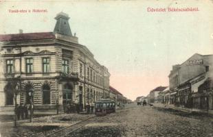 Békéscsaba, Vasút utca, Motor, Városi vasút, Petrányi Gyula bazárja, hotel (EK)