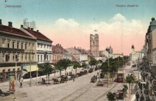 Debrecen, Ferenc József út, villamos, Csanak József és Neumann M. üzlete, takarékpénztár, Központi szálloda