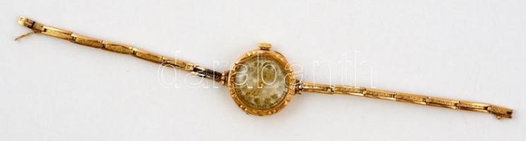 Arany (Au) 14 K női karóra, jelzett, nem müködik, Garay János Gyula karton ékszeres dobozban, bruttó:11 g