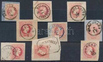 1867 9 db 5kr kivágáson szép olvasható bélyegzésekkel