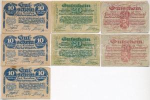 Ausztria / Stájerország 1920. 10h (3x) + 20h (2x) + 50h (2x) T:II-III Austria / Steiermark 1920. 10 Heller (3x) + 20 Heller (2x) + 50 Heller (2x) C:XF-F