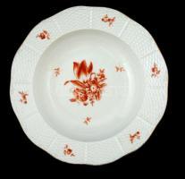 Herendi virág mintás mélytányér, kézzel festett, jelzett (koronás), hibátlan, d:22 cm