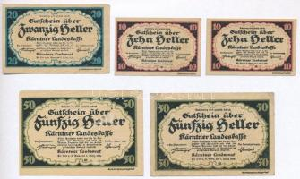 Ausztria / Karintia 1920. 10h (2x) + 20h + 50h (2x) T:I--III Austria / Kärnten 1920. 10 Heller (2x) + 20 Heller + 50 Heller (2x) C:AU-F