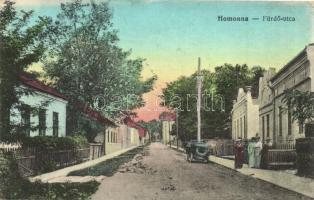 Homonna, Humenné; Fürdő utca, automobil, kiadja Waller Mór / street, automobile (EK)