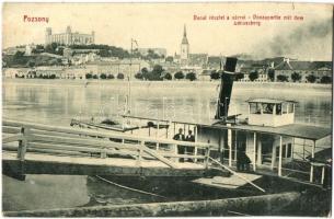 Pozsony, Pressburg, Bratislava; gőzhajó, Duna, vár, W. L. Bp. 667. / steamship, castle, river, Josef Skoda Ansichtskarten-Verlag (kis szakadás / small tear)