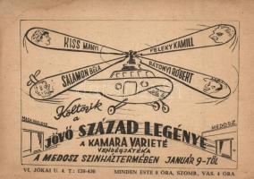 Költözik a Jövő Század legénye, A Kamara Variete vendégjátéka. Medosz színház / Hungarian variety advertisement card (EK)
