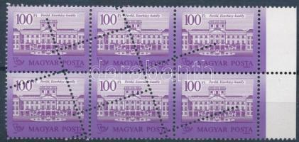 1987 Kastélyok 100Ft ívszéli hatostömb látványos elfogazással