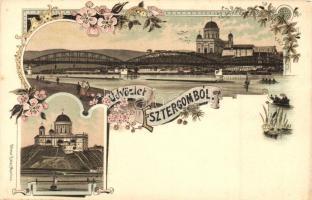 Esztergom, Bazilika, látkép, híd, Ottmar Zieher floral Art Nouveau litho