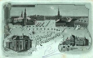 Kecskemét, Színház, városháza, látkép, Schwartz Soma kiadása, metallic decorated floral Art Nouveau litho (EK)