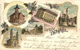 1899 Pápa, Fenyvessy villa, Római katolikus iskola és templom, Dohány gyár, Honvéd szobor, Regel u. Krug, Hans Nachbargauer, floral Art Nouveau litho (EK)