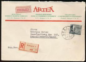 1957 Expressz ajánlott céges levél Épület 5Ft bérmentesítéssel BUDAPEST Svájcba küldve