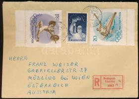 1957 Ajánlott levél Olimpia ívszéli 20f, 1,50Ft és Bányásznap 1Ft bérmentesítéssel BUDAPEST Ausztriába küldve