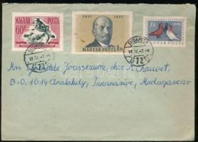 1958 Levél Nagy Októberi Szocialista Forradalom 1Ft, Galamb 1Ft és Takarékosság 60f bérmentesítéssel BUDAPEST Madagaszkárra küldve, ritka desztináció