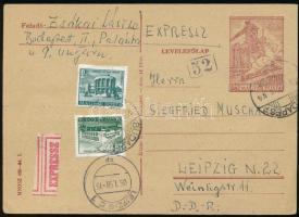 1958 Expressz díjjegyes levelezőlap Épületek 20f és 2Ft bérmentesítéssel BUDAPEST - Leipzig