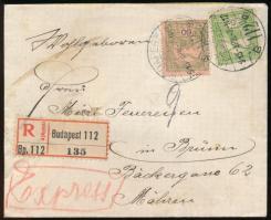 1915 Expressz ajánlott levél Turul 5f, 60f bérmentesítéssel BUDAPEST - Mahren, Németországba küldve