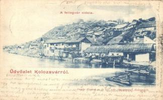 Kolozsvár, Cluj; A fellegvár oldala, Dunky Fivérek kiadása / Citadels side (EB)