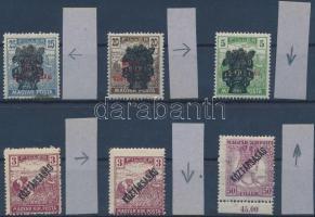 1918-1920 6 db bélyeg felülnyomás elcsúszással