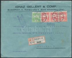 1914 Ajánlott cenzúrás céges levél Turul 5f és 3 x 10f bérmentesítéssel BUDAPEST - München