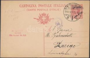 1919 10c díjjegyes levelezőlap FIUME felülnyomással Zürichbe