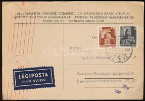 1944 Légi cenzúrás levelezőlap Hadvezérek 18f és 20f bérmentesítéssel Berlinbe küldve