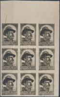 Nyugat-Magyarország VII. 1921 2K ívszéli kilencestömb próbanyomat, garancia nélkül