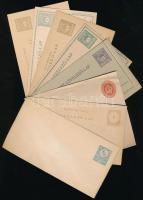 1871-1915 8 db klf használatlan díjjegyes levél és levelezőlap, közte 1871 10kr boríték