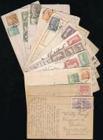 1920-1925 12 db képeslap Arató-Parlament bérmentesítésekkel (Érdekes összeállítás)