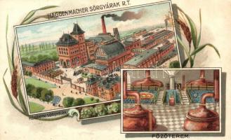 Budapest X. Haggenmacher Sörgyárak Rt. Kőbányai sörgyára, főzőterem, belső, floral litho