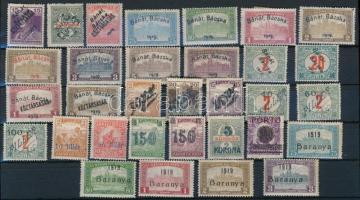 Bánát Bácska, Baranya 1919 Kis összeállítás, benne 32 db megszállási bélyeg, jobb értékek, garancia nélkül (40.000++)