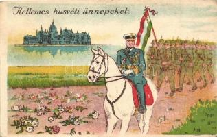 Katonai húsvéti üdvözlőlap, Horthy bevonulása fehér lovon, Országház / Military Easter greeting card, Horthy on white horse, entry of the Hungarian troops, Parliament (EK)