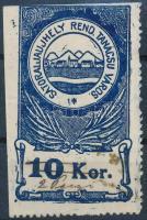 1920 Sátoraljaújhely városi illetékbélyeg 2P/10K kézzel átírt névérték (6.000)