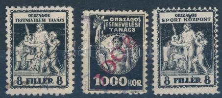 1925-1927 Országos Testnevelési Tanács 3 klf bélyeg