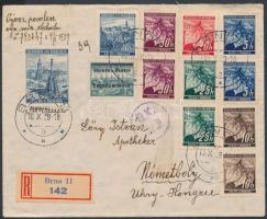 Böhmen und Mähren 1939 Ajánlott levél Magyarországra 12 db bélyeggel