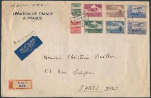 1936 Ajánlott nagy légi levél Párizsba 8 klf Repülő bélyeggel (1 db sérült)