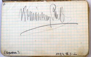 Aláírásgyűjtemény kb. 80 db többségében színész, operaénekes és egy-két író aláírásával, a 1920-as évekből származó dátumozásokkal, Jászai Mari, Petthes Margit, Fedák Sári, Székely Mihály, Németh Mária, és Zilahy Lajos, valamint mások aláírásaival, széteső füzetnek a lapjain, illetve azokra ragasztott lapokon.