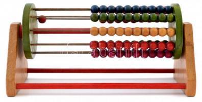 Régi fa golyós számoló, forgatható, h:20 cm, m:9 cm