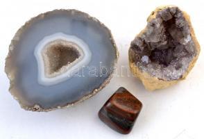 3 db ásvány, egyik csiszolt, 2×3- 7×7 cm
