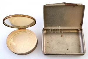 2 db régi fém dobozka, 6,5×5,5 cm, 9×6 cm