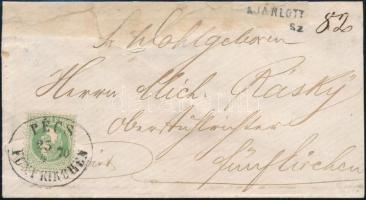 1870 Ajánlott helyi levél 3kr bérmentesítéssel PÉCS / FÜNT KIRCHEN (45.000++)