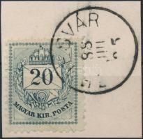 1881 20kr TEMESVÁR a teljes bélyegen átfutó vízszintes ívelt vésetjavítással (Lovász könyv címlapján 350p) ritka, luxus minőség