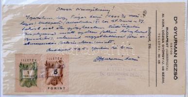 1951 Orvosi bizonyítvány, recepten, 1 és 5 forintos illetékbélyeggel.