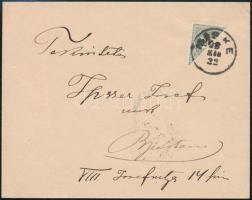 1898 Távolsági levél felezett 20kr bérmentesítéssel MISKE - BUDAPEST / NYUGATI P.U.N. ritka!