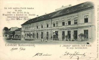 Kolozsvár, Cluj; Biasini szálloda, hol Petőfi és Neje tartózkodott, Dunky Fivérek kiadása / hotel