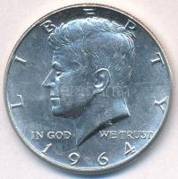 Amerikai Egyesült Államok 1964D 1/2$ Ag Kennedy tanúsítvánnyal T:1-,2 USA 1964D 1/2 Dollar Ag Kennedy with certificate C:AU,XF Krause KM#202